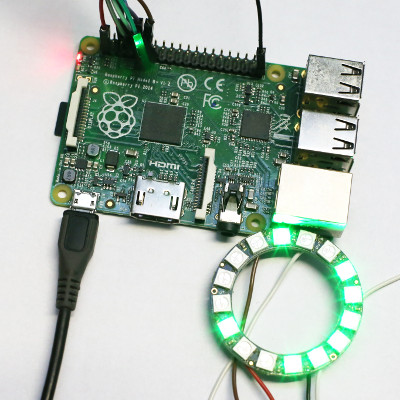 a picture of a Raspberry Pi B+ and an Adafruit WS2812 LED ring